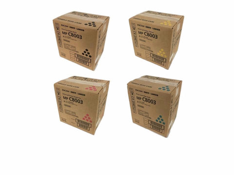 Genuine Ricoh Savin Lanier Toner K, Y, M, C MP C8003 - MP C6503 Print Cartridge Set