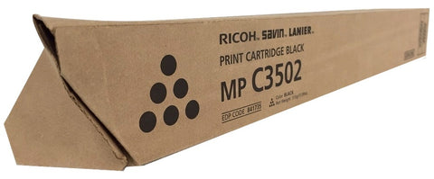 Genuine Ricoh Savin Lanier BLACK Toner MP C3502 MP C3002 Print Cartridge