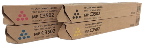 Genuine Ricoh Savin Lanier K,M,Y,C Toner MP C3502 MP C3002 Print Cartridge Set
