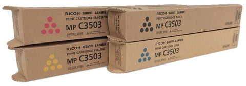 Genuine Ricoh Savin Lanier K,M,Y,C Toner MP C3503 MP C3003 Print Cartridge Set