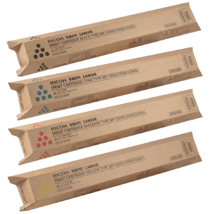 Genuine Ricoh Savin Lanier Gestetner K,M,Y,C Toner MP C4500 MP C3500 Print Cartridge Set
