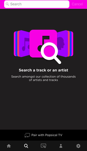 Select songs in your Popsical Karaoke App