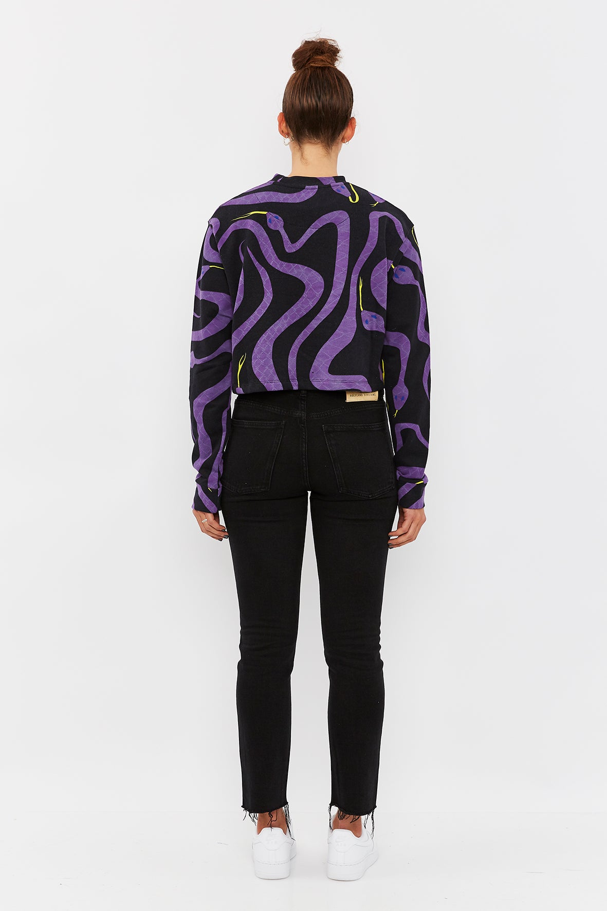 SNAKES CROP ZIP SWEATER