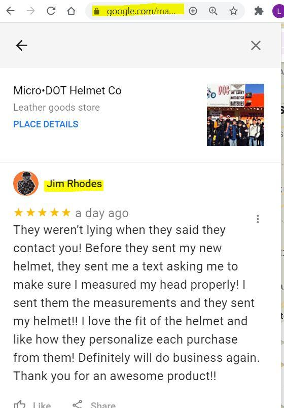 I love the fit of the helmet and like how they personalize each purchase from them | Micro DOT Helmet Co