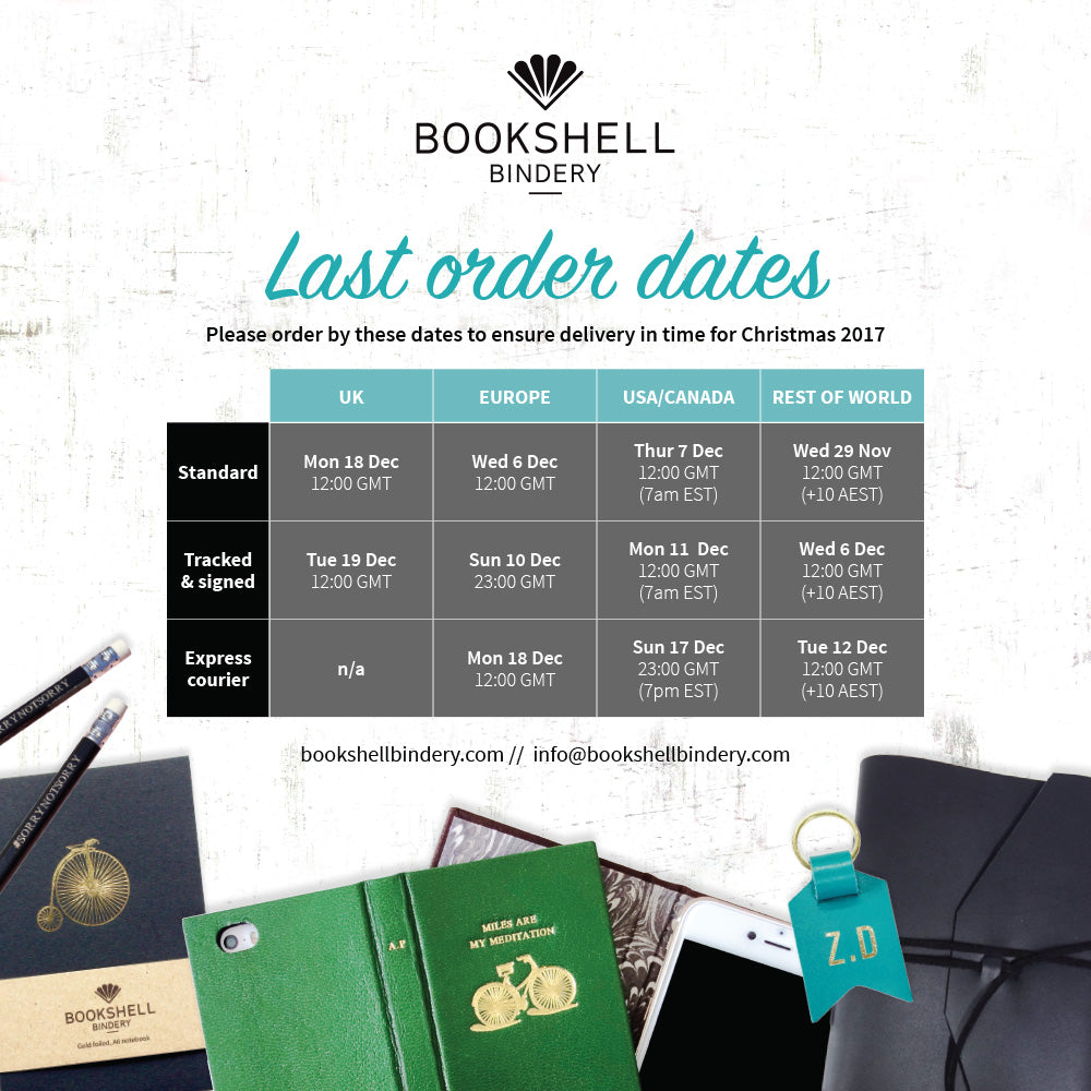 Last post order dates for Bookshell Bindery in time for Christmas 2017