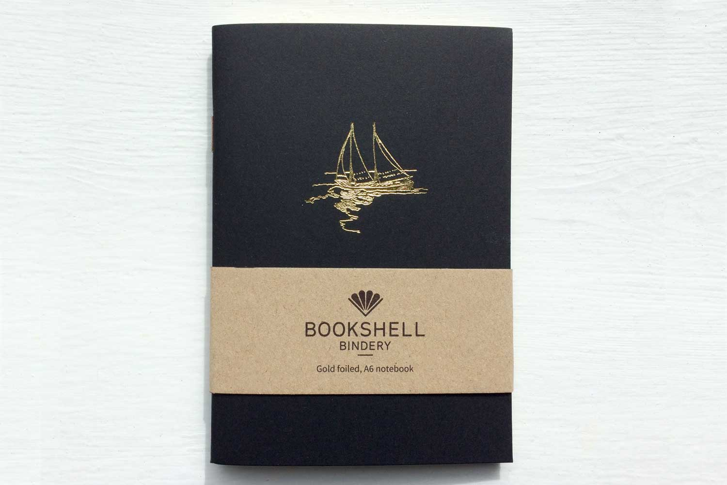A6 notebook with choice of gold foil picture from Bookshell, boat
