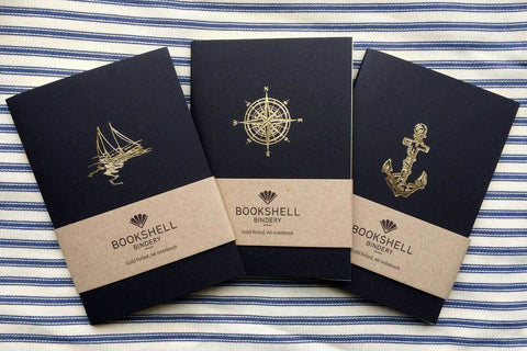 A6 notebook with choice of gold foil picture from Bookshell, boat, compass or anchor