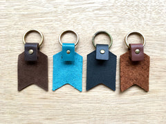 Detail of the backs of the leather keyrings in all colours