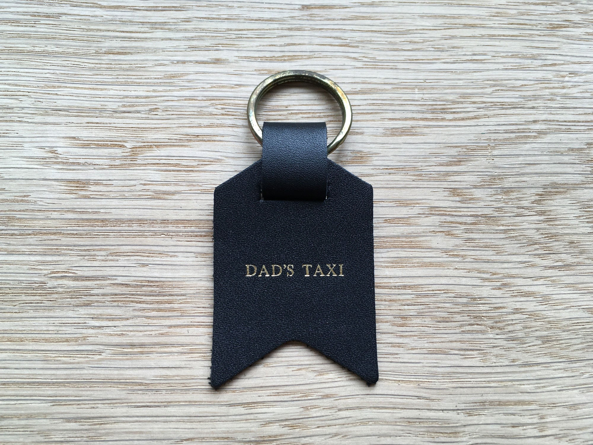 Also available – Dad's Taxi, Black Leather Keyring
