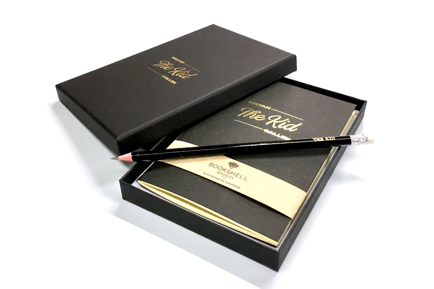 Personalised A6 notebook from Bookshell with beautiful gift box and pencil