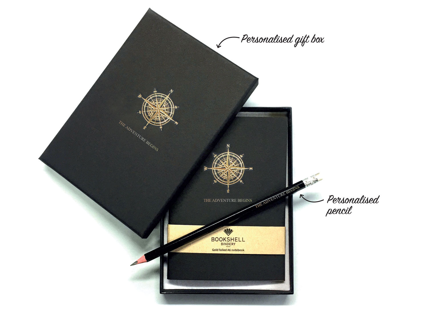 Personalised A6 notebook from Bookshell with optional gift box and pencil