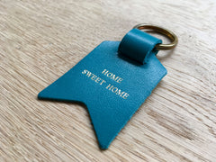 Second Sale – Home Sweet Home, blue Leather Keyring
