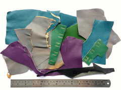 Scrap Leather Offcuts – Mixed Colours Goatskin Leather Pieces