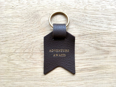 Also available – Adventure Awaits, Dark brown leather keyring