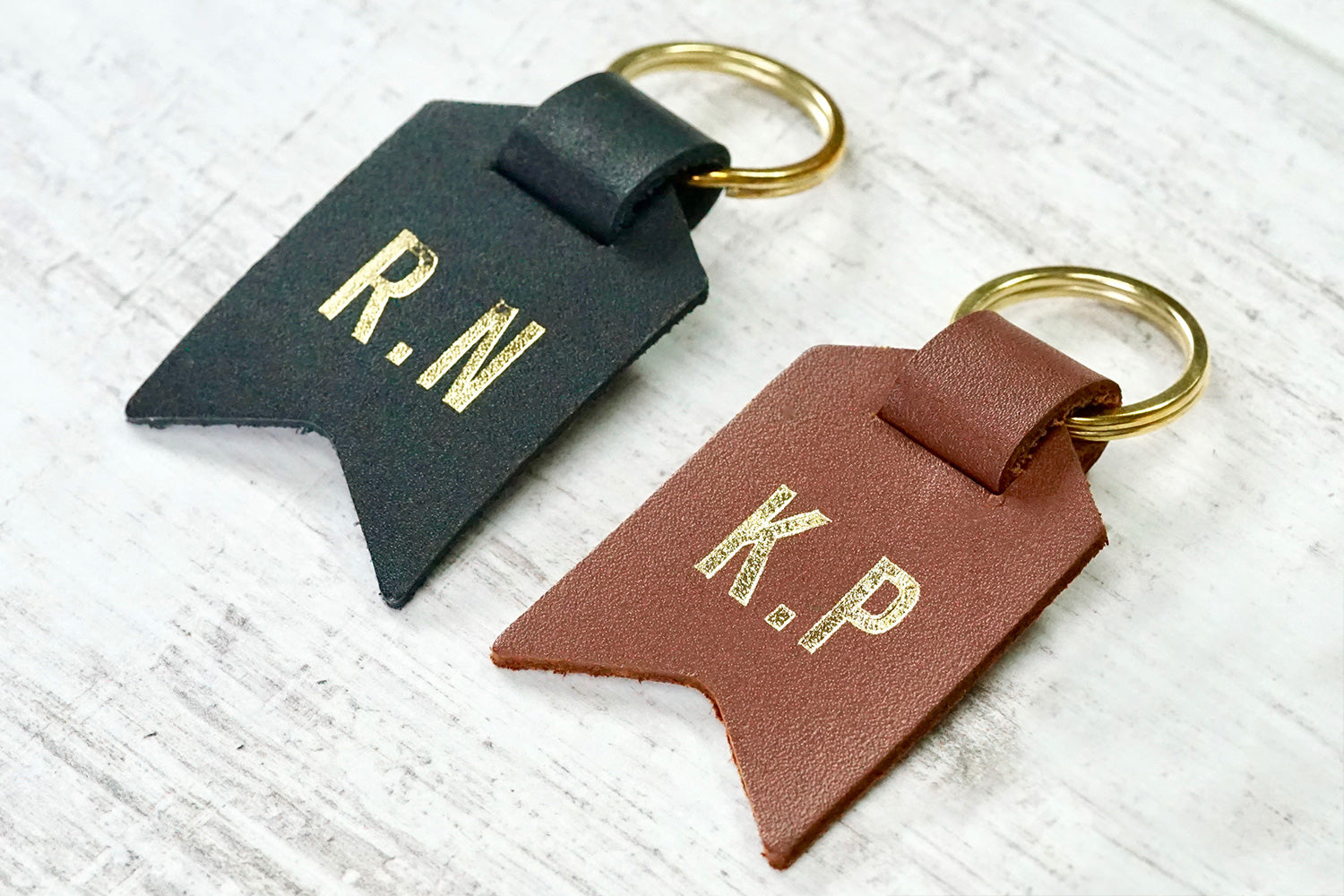 Couple keychain from Bookshell Bindery monogrammed with 2 intials