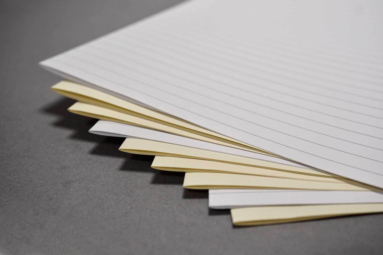 Short grain cream bookbinding paper from Bookshell bindery, cream or white with blank or lined pages