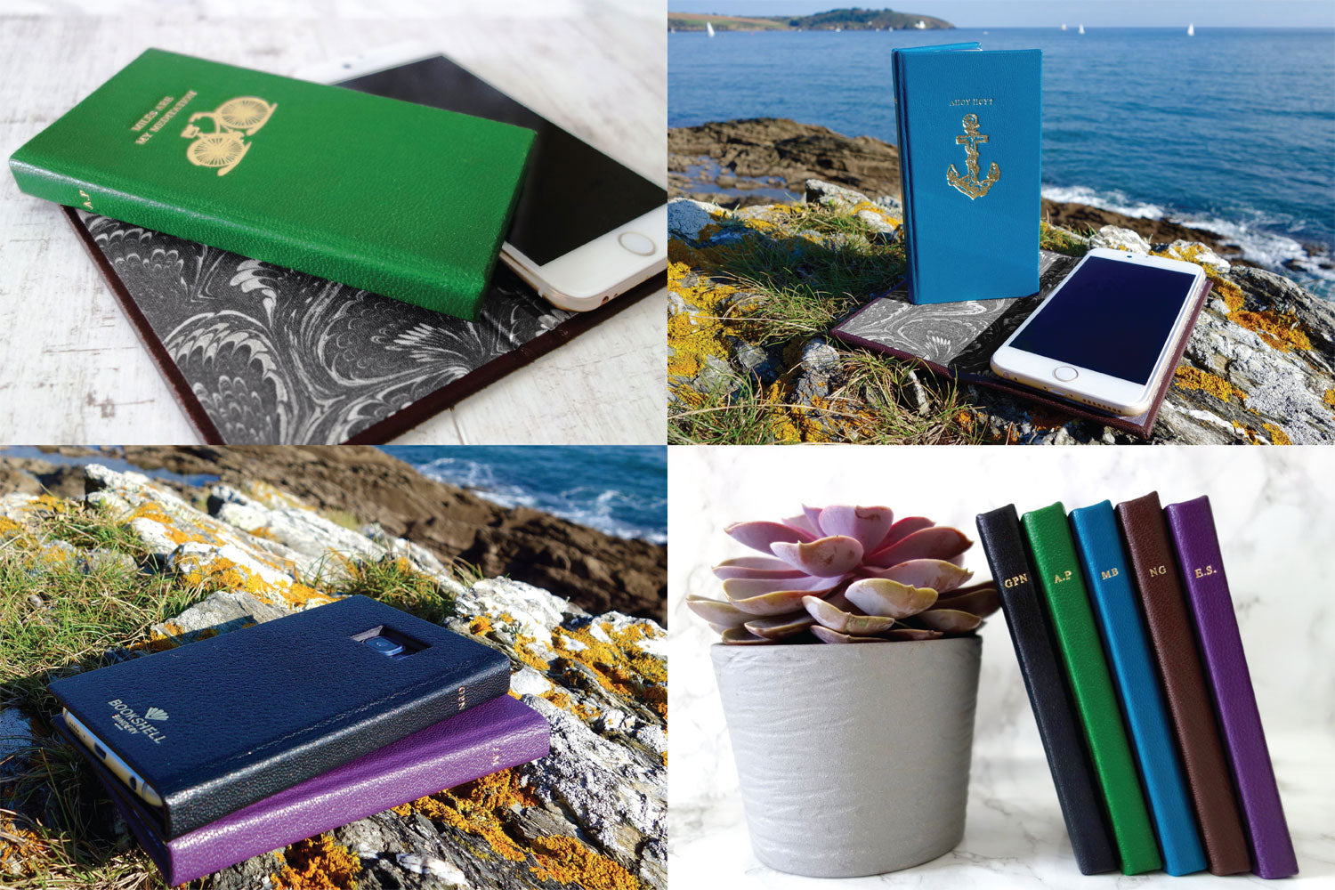 Custom leather phone cases from Bookshell, green leather with a bicycle, blue leather with an anchor