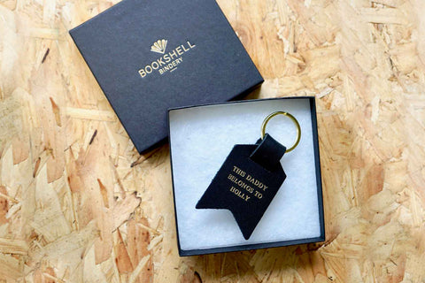 Personalised Keyrings for Dad, This Daddy Belongs To Holly, from Bookshell Bindery