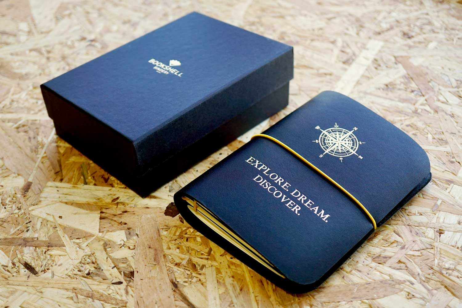 Never-ending journal, Explore. Dream. Discover; A6 leather travel journal with gold foiled compass on the cover