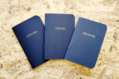 The 3 inner notebooks for our Never-ending journal, Explore. Dream. Discover; A6 with gold foiled on the cover