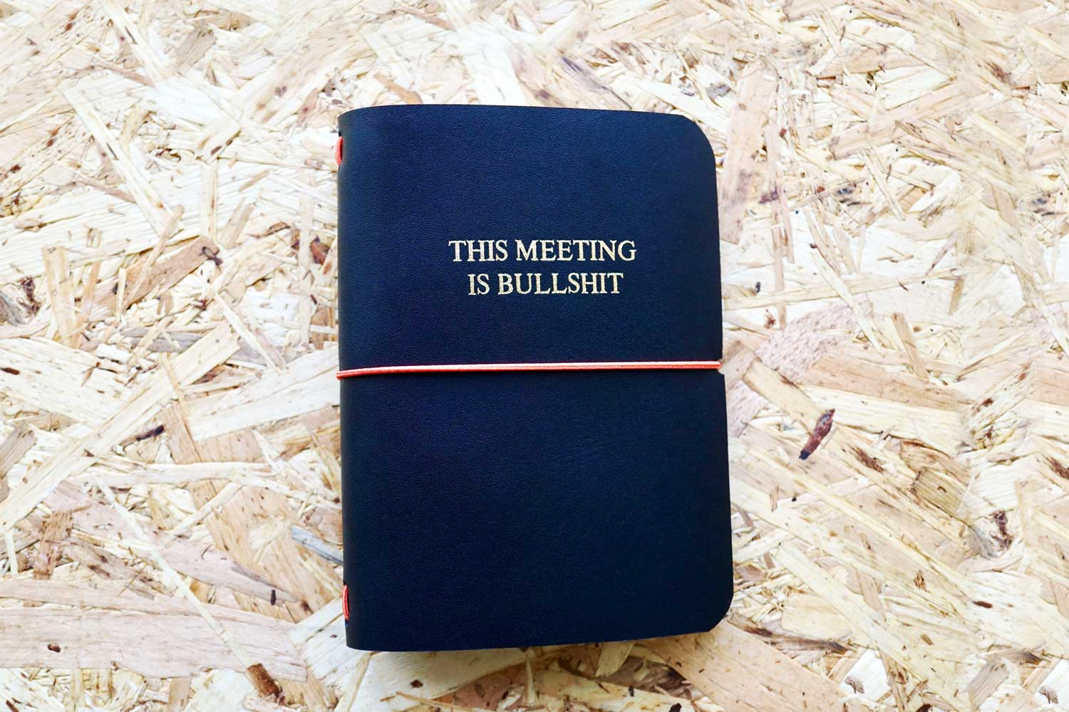 Never-ending journal - This meeting is Bullsh*t, leather travel journal, A6 pocket size with embossed title in gold foil, 3 inner A6 notebooks