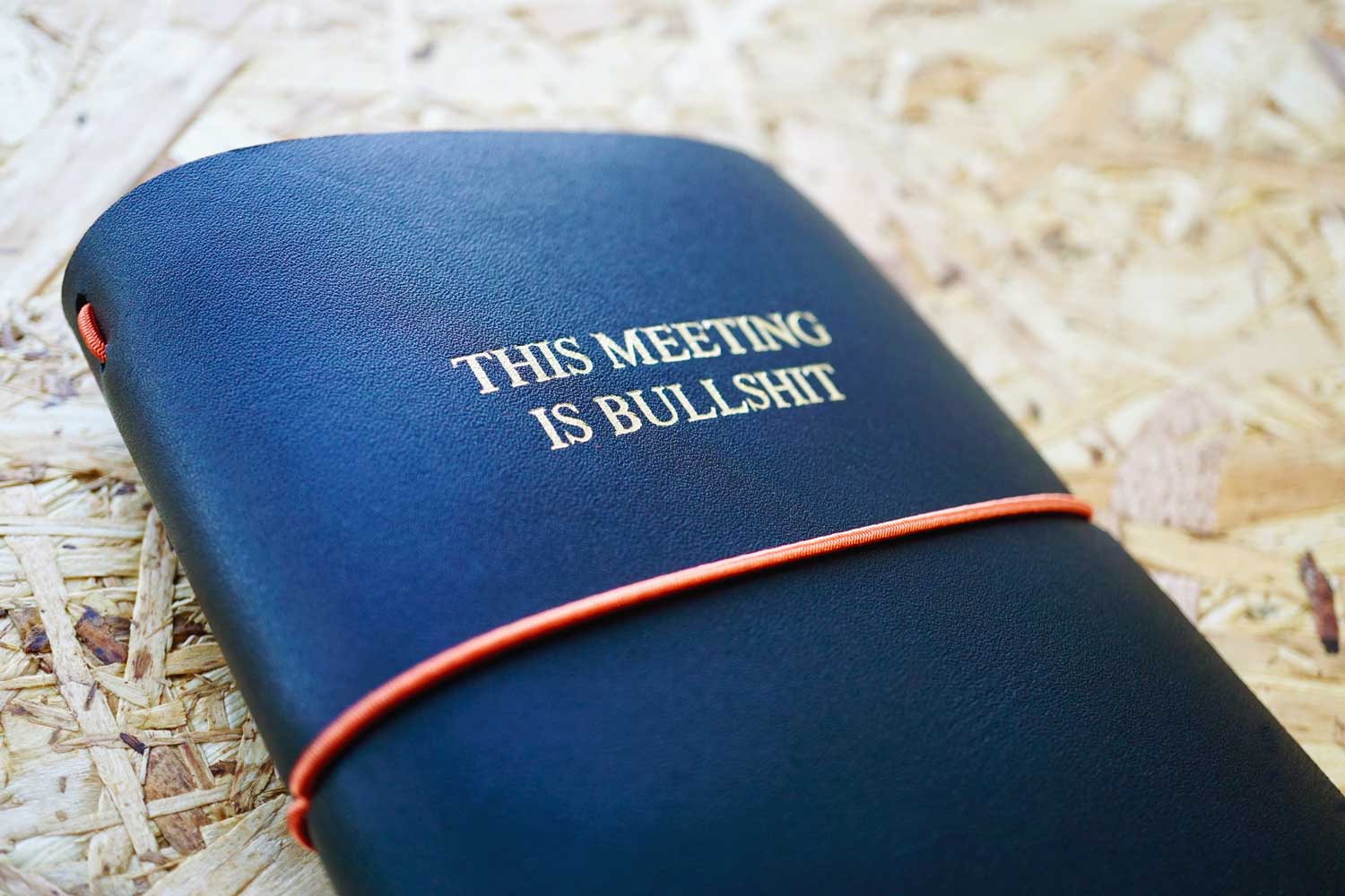 Never-ending journal - This meeting is Bullsh*t, leather travel journal, A6 pocket size with embossed title in gold foil