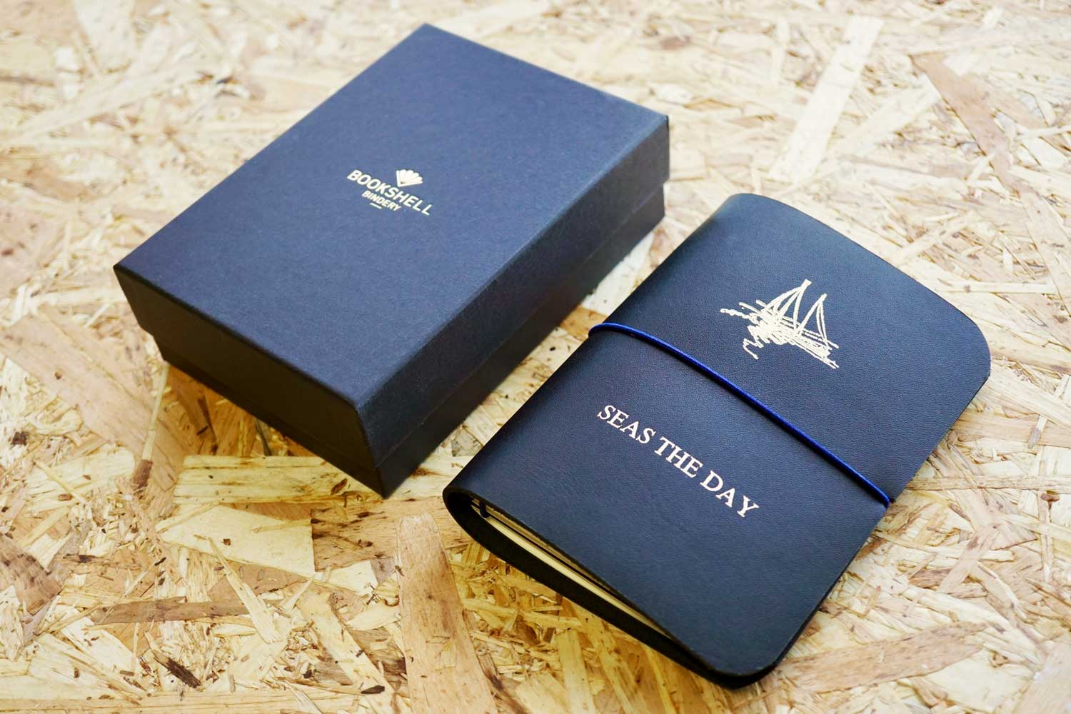Never-ending journal - Seas the day, leather travel journal, A6 pocket size with boat illustration embossed in gold foil onto the cover