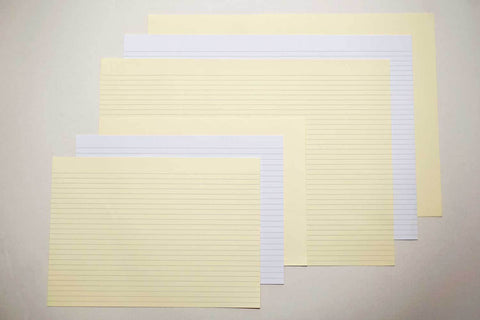 Landscape lined paper for bookbinding from Bookshell Bindery, short grain, A4 and A3, white and cream, lined or blank