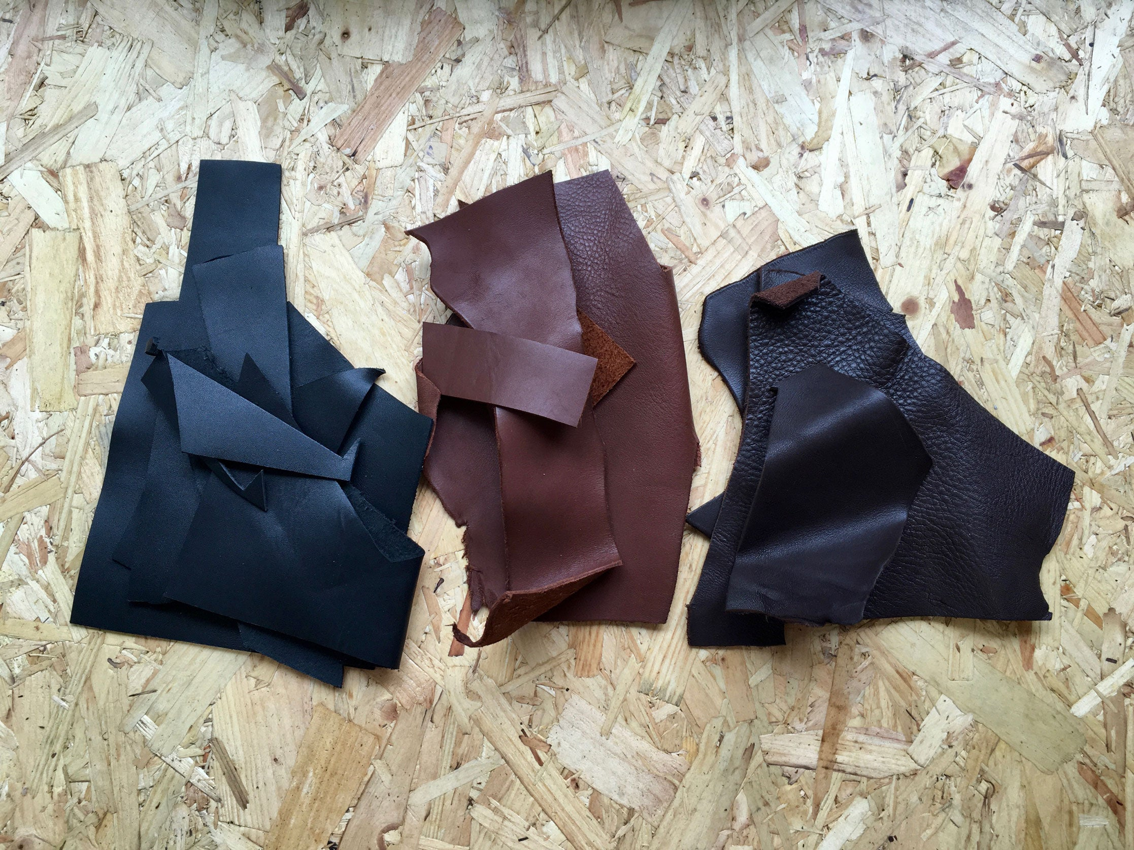 All available colours - black, light brown and dark brown, Scrap Leather Offcuts – Light Brown Cowhide Leather Pieces by Bookshell Bindery