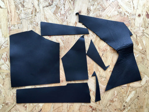 Scrap Leather Offcuts – Black Cowhide Leather Pieces