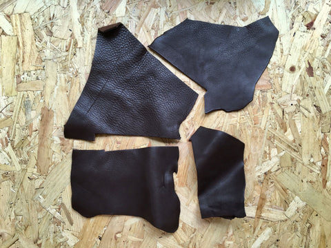 Scrap Leather Offcuts – Dark Brown Cowhide Leather Pieces