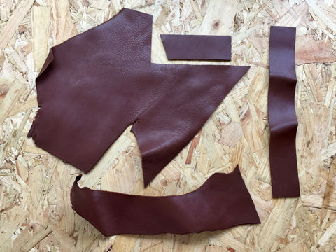 Scrap Leather Offcuts – Light Brown Cowhide Leather Pieces by Bookshell Bindery