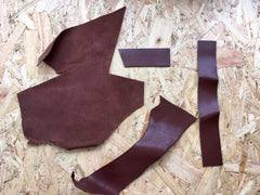 Showing back of Scrap Leather Offcuts – Light Brown Cowhide Leather Pieces by Bookshell Bindery