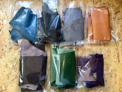 All available colours - Scrap Leather Offcuts – Purple Goatskin Leather Pieces