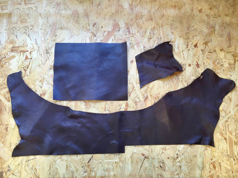 Scrap Leather Offcuts in Brown Goatskin Leather Pieces by Bookshell Bindery