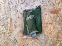 Bag of Scrap Leather Offcuts – Green Goatskin Leather Pieces