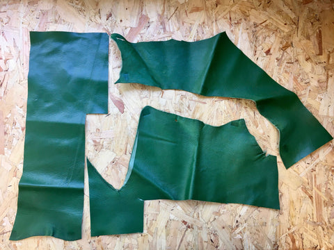 Scrap Leather Offcuts – Green Goatskin Leather Pieces