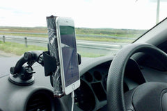 Leather iphone case from Bookshell can be used fully bent back and still works in car sat-nav holders as shown here