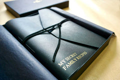 Leather journal personalised with My secret family recipes in black leather from Bookshell