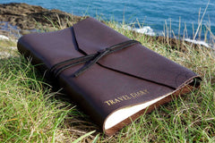 Leather journal personalised with Travel diary in dark brown from Bookshell