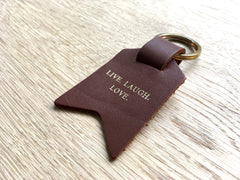 Second Sale – Live Laugh Love, Light Brown Leather Keyring shown in gift box