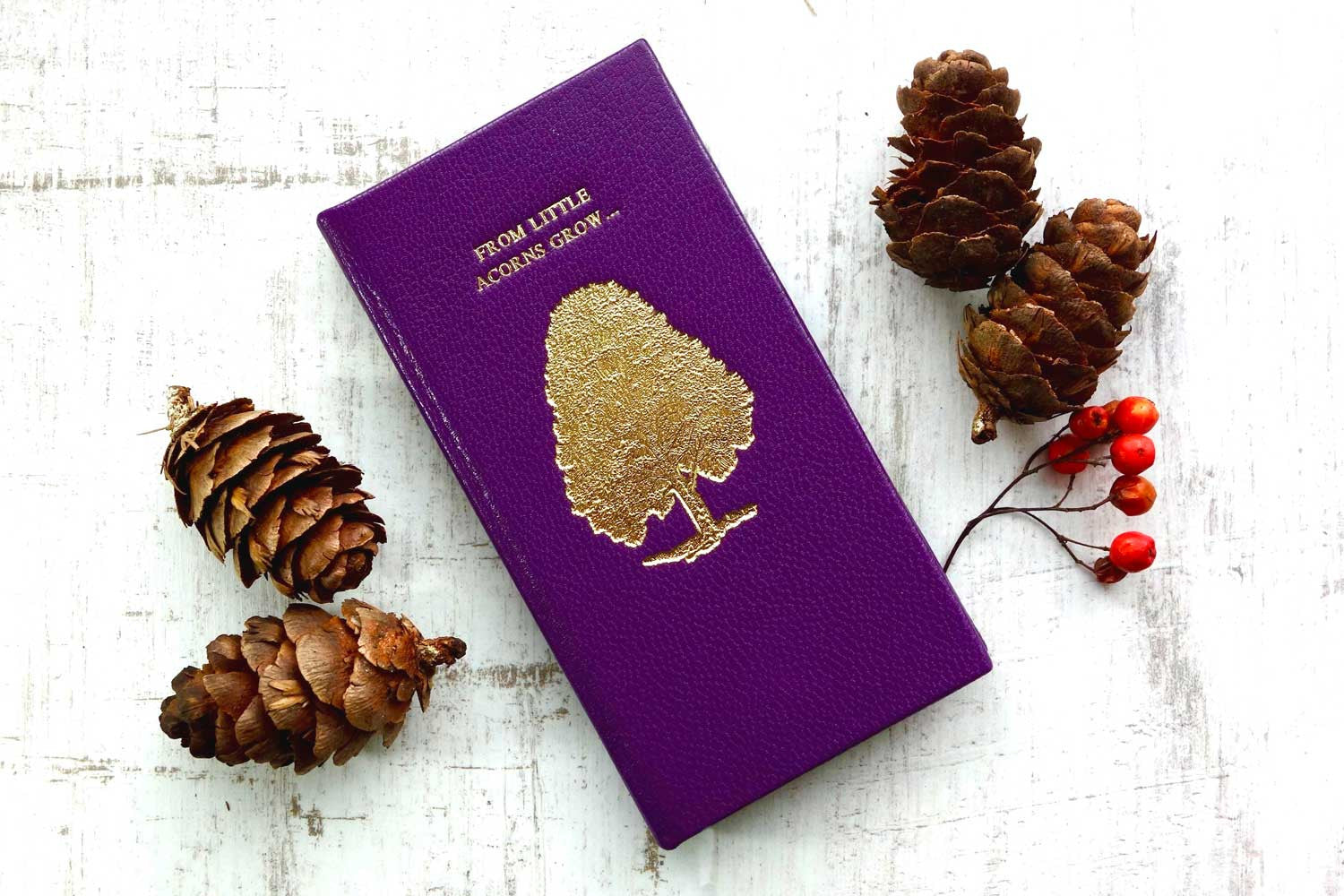 Luxury leather phone cases from Bookshell Bindery hand bound in purple leather with a tree on the cover