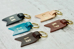 Monogram keychain from Bookshell bindery available in black leather, turquoise blue leather, dark brown leather, light brown leather, Natural (pale pink)