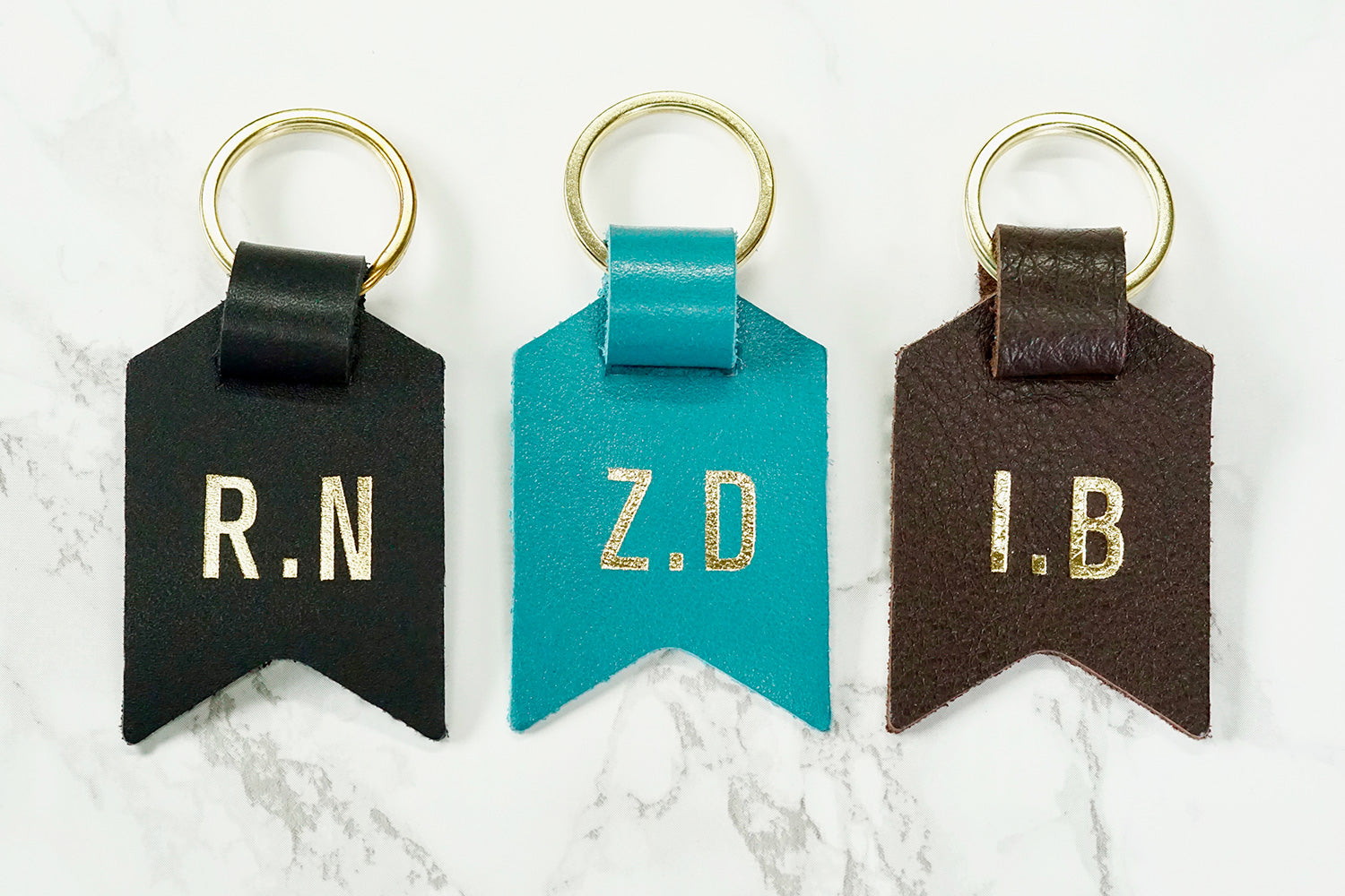 Monogram keychain from Bookshell bindery
