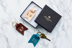 Monogram keychain from Bookshell bindery ready to gift in beautiful packaging