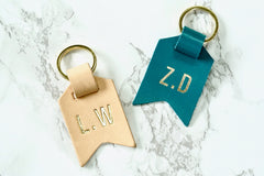 Monogram keychain from Bookshell bindery embossed with gold foil