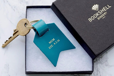 Mum keychain from Bookshell Bindery embossed with gold foil, Mum Est. date, in turquoise blue leather