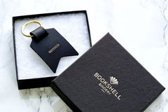 Mum keychain from Bookshell Bindery embossed with gold foil, shot, in black leather, ready to gift in beautiful packaging