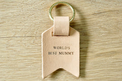 Mum keychain from Bookshell Bindery embossed with gold foil, Worlds Best Mummy in natural pale pink leather