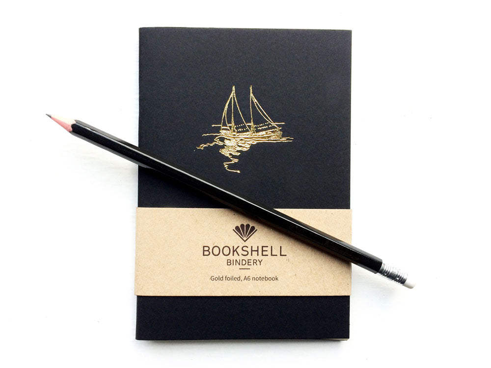 Pocket notebook with choice of gold foil picture and personalised pencil from Bookshell, boat